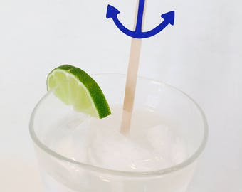 15 Anchor Swizzle Sticks - Nautical - Bridal Shower - Birthday - Baby Shower - Last Sail Before the Veil - Drink Stirrers - Bachelorette