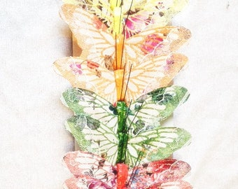 Feather Butterfly - 8 Butterflies Yellow Orange Green Pink With Lace 4.25 Inches Butterfly Embellishments Cake Topper