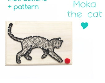 String art Pattern + Instructions - Moka, the playing cat - Cat template - String art Cat sign - Download String Art Pattern - Cat decor