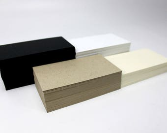 Blank Business Cards as Kraft, Uncoated Recycled, Black Stocks Available