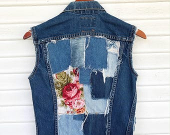 DENIM ON DENIM - Denim Patchwork Vest - Denim Vest - Size Medium