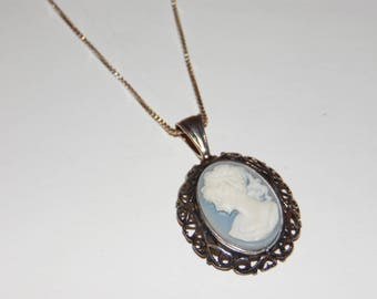 Cameo Sterling Silver 925 Necklace chain and Pendant