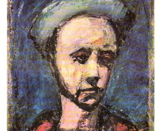 """The Apprentice Painted by Georges Rouault. These Bookplates are copy write 1966. The pages are approx. 11"""" wide and 15"""" tall."""