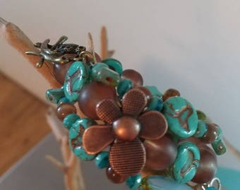 Wire beaded wrap bracelet - turquoise & copper