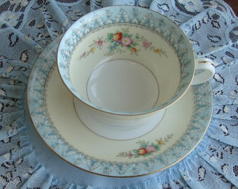 Antique Noritake Hand Decorated Tea Cup and Saucer - Bands of White, Cream and Pale Blue - Hand Painted Flowers