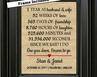 FRAMED Personalized 1st Anniversary Burlap Print/1st Anniversary Gifts/1 year Anniversary Gift/Anniversary gift for him/Gifts for men