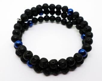 Blue Hematite and Lava Bracelet