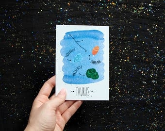 Taurus - Astrology crystals - Zodiac Constellation watercolor postcard