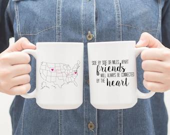 Friendship Long Distance Map BFF Friends Best Friend Coffee Mug Personalized 039