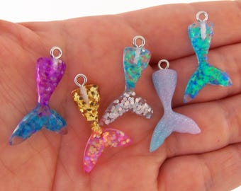 5 Small mermaid tail charms, mermaid tails, glittery mermaid tail charm, resin mermaid tail charm, kawaii mermaid charm, tiny mermaid tails