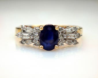 10k Yellow Gold Oval Cut Sapphire 0.24 ct Diamond Accent Ring