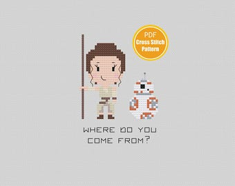BB-8 Cross stitch Pattern - Star Wars Crosstitch Pattern - PDF Instant Download - Rey - May the Force be with you