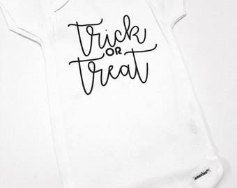 Trick Or Treat Baby Onesie, Cute Baby Clothes, Baby Halloween Outfit, Baby Shower Gift, Funny Baby Clothes, Newborn Outfit, Holiday Onesie