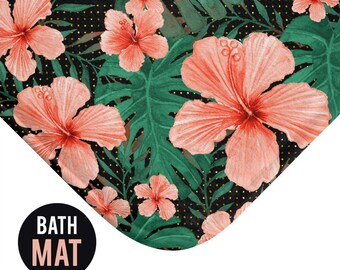 Tropical Hibiscus Bath Mat - Available in Two Sizes