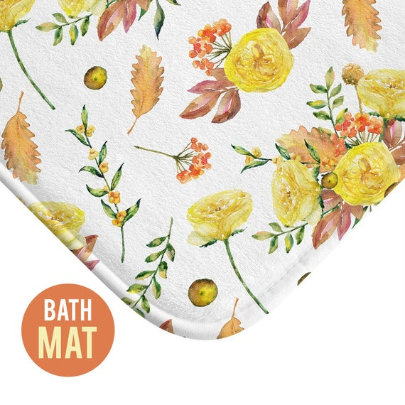 Autumn Flowers Bath Mat - Available in Two Sizes
