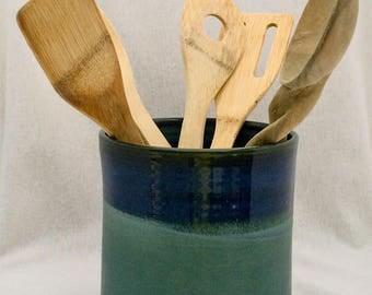Stoneware pottery utensil crock, matte green and blue glaze, pottery utensil holder, ceramic utensil crock, green and blue utensil holder