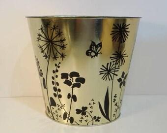 Vintage J V Reed Gold Trash Can Hollywood Regency USA Metal Wastebasket Black Floral Design Flowers Butterfly Trashcan