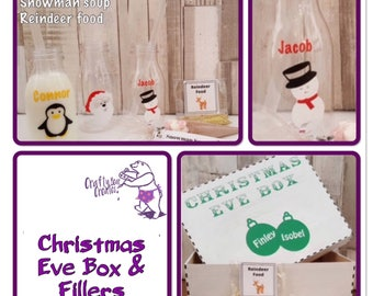 Personalised Christmas Eve Box, Xmas Eve Box, Family Christmas Eve Box, Santa Milk Bottle, Snowman Soup, Reindeer Dust