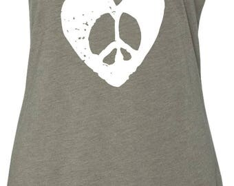 Ladies Hippie Heart Peace Tri Blend Racerback Tank Top HIPPIEHEART-NL6733