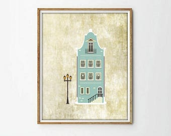 house print, vintage house,4 SIZES INCLUDED,vintage print, wall art print, wall art decor, nursery decor, nursery print, vintage poster