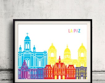 La paz skyline pop - Fine Art Print Glicee Poster Gift Illustration Pop Art Colorful Landmarks - SKU 2373
