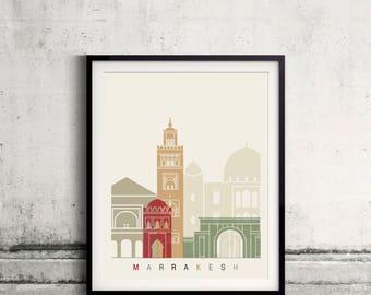 Marrakesh skyline poster - Fine Art Print Landmarks skyline Poster Gift Illustration Artistic Colorful Landmarks - SKU 2502