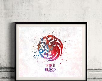 Game of thrones Targaryen Fine Art Print Glicee  Poster Watercolor Children's Illustration Wall - SKU2565