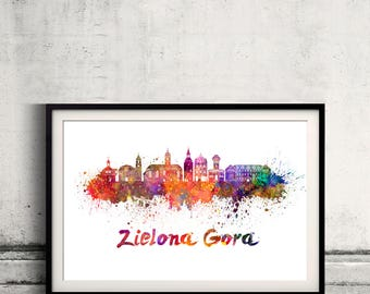 Zielona Gora skyline in watercolor over white background with name of city - Poster Wall art Illustration Print - SKU 2809