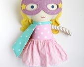 Superhero girl rag doll with superhero mask and cape, fabric doll gift for toddlers, ideal toy gift for kids for superhero birtday