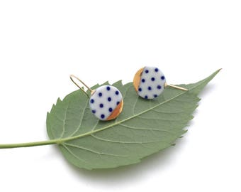 Blue and white Porcelain earring, ceramic jewelry, Polkadot, 18k gold earrings, minimalist earrings, geometric earrings, Christmas gift