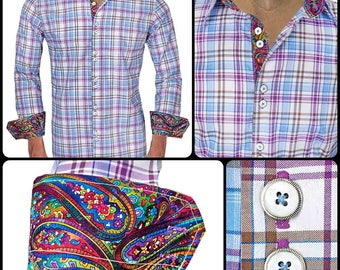 Multi-Colored Plaid Men's Designer Dress Shirt - Made To Order in USA