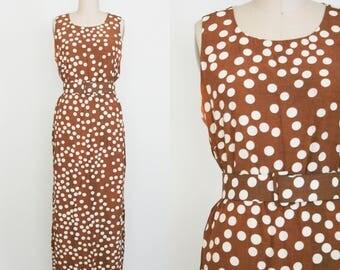 Vintage 1990s Sleeveless Day Dress - Brown & White Polka Dot - Scoop Neck - Maxi Dress - Women's 16 - Extra Large - Plus