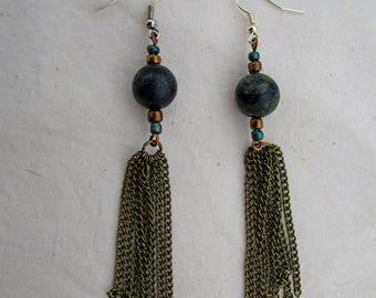 Beaded Metal Tassel Earrings