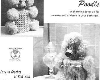 Powder Room Poodle Tissue Cover Crochet or Knit Pattern Vintage Kitsch