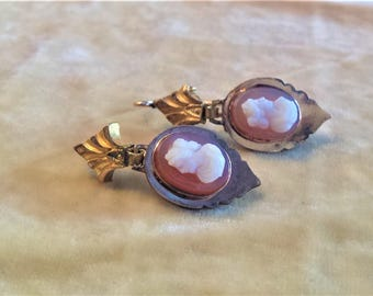 Gold Filled Handstone Cameo Earrings