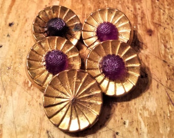 Vintage Set of 5 Brass Buttons with Red Plastic