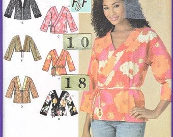 V Neck Wrap Asian Top, Bolero Sewing Pattern/ Simplicity 4132 Womens Flared Kimono Sleeve, Chinese Tunic, UnCut/ Size 10 12 14 16 18