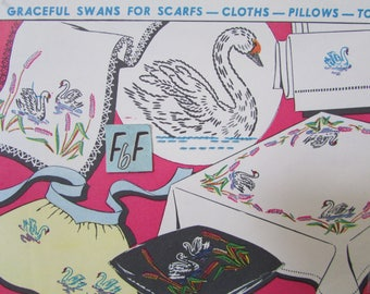 Vogart Swan, Cattails Embroidery Transfer Pattern 693/ Mid Century, bullrushes & swans for tablecloths etc. Hot Iron UnUsed Craft Pattern