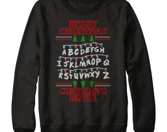 Merry Christmas Alphabet Sweater, Stranger Christmas Sweatshirt, Stranger Christmas Sweater Things Retro Xmas Jumper L150