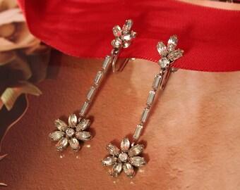 Vintage Krementz  Clear Rhinestone Floral Dangle Earrings
