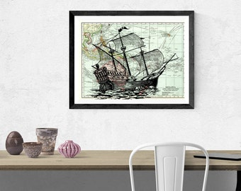 Pirate ship illustration, vintage map, Nautical wall art, ship with map