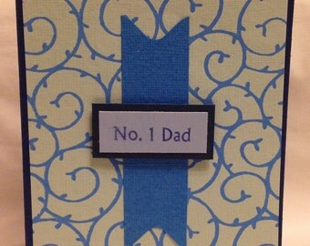 No. 1 Dad - Cards in Shades of Blue