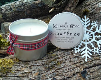 Handmade Christmas Sparkling Snowflake Scented Soy Wax Candle 30+ hours