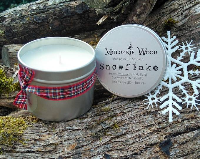 Featured listing image: Handmade Christmas Sparkling Snowflake Scented Soy Wax Candle 30+ hours