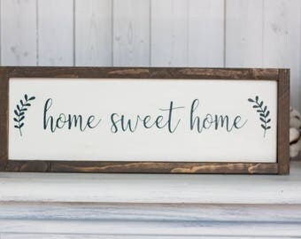 Farmhouse Sign - Home Sweet Home Sign - Rustic Chic Sign - Farmhouse Sign - Sign For Foyer - Entryway Sign - White Home Sweet Home Sign