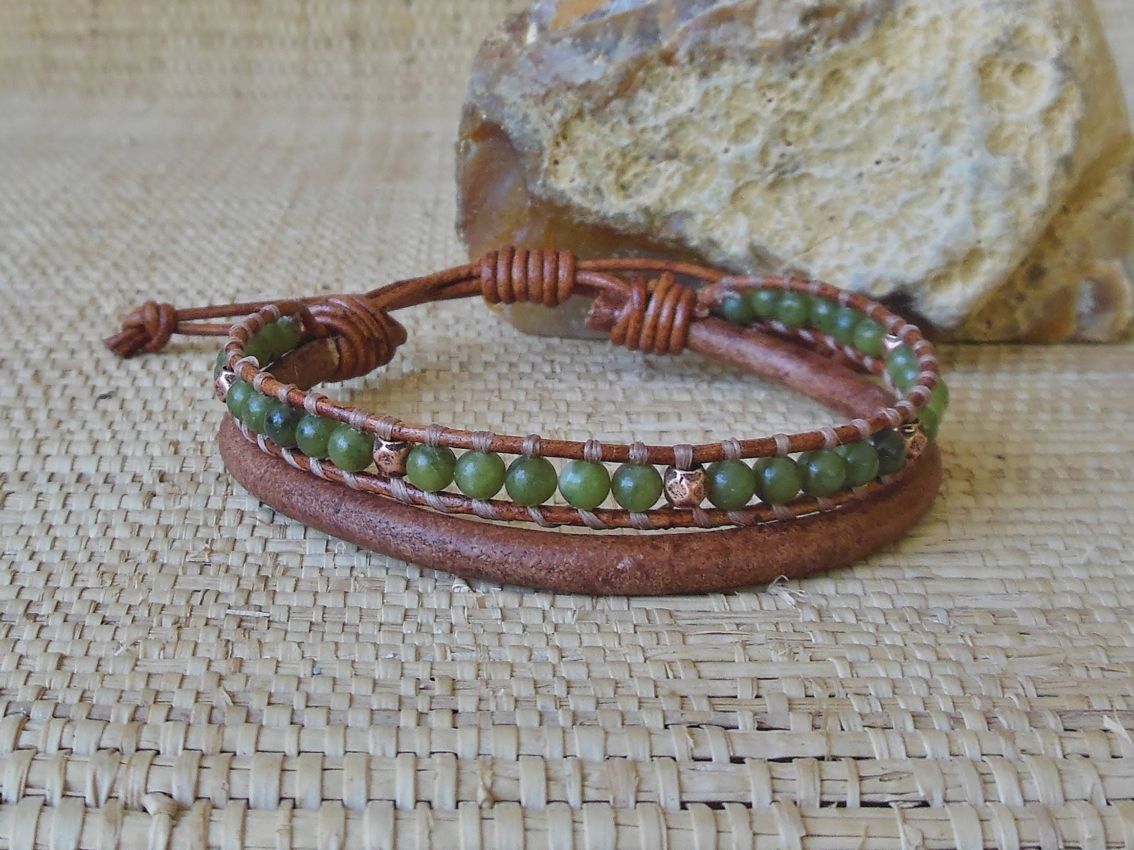 leather unique adjustable woven copper s kind one men a and of pin masculine bracelet