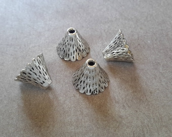 Bead caps cones, ethnic dishes, cups cone end caps beads caps brass, silver - 12 x 9 mm
