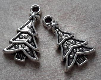Christmas trees Christmas tree charms, charms, silver Metal - 23 x 14 mm