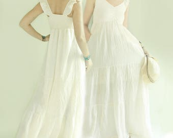 SALE 30% Off, Summer Boho Gypsy Off Shoulder Tiered Maxi Cotton Dress in Off White, Bohemian Beach Wedding