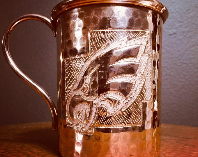 16oz Moscow Mule Hammered Copper Mug w/ Eagles logo